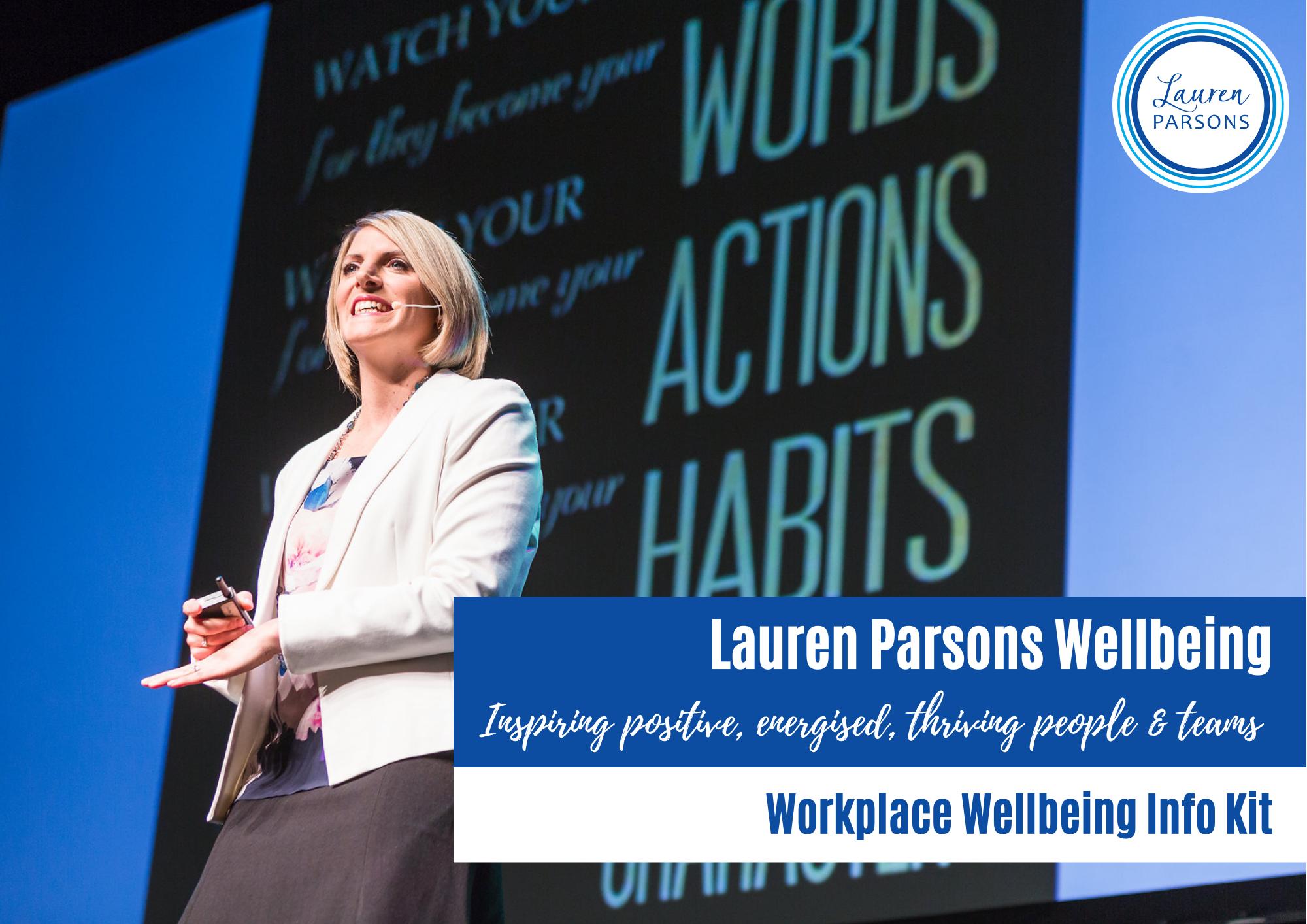Lauren Parsons Wellbeing Specialist Speaker and Author Speakers Kit